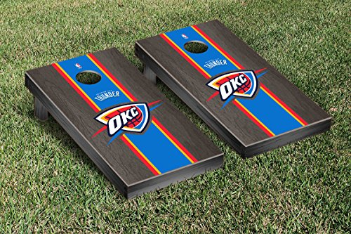 Oklahoma City Thunder NBA Basketball Cornhole Game Set Onyx Stained Stripe Version by Victory Tailgate