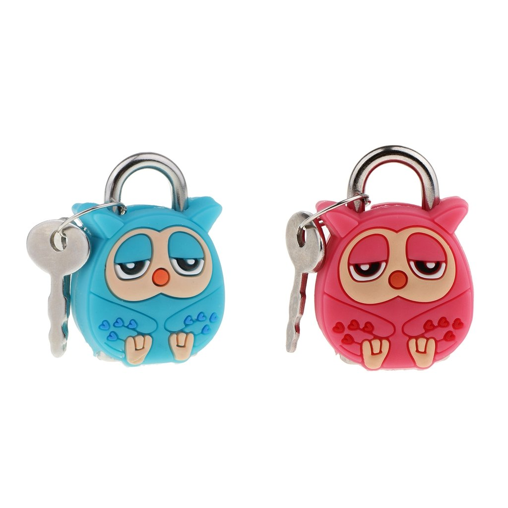 Baoblaze 2 Set Kawaii Security Lock Cartoon Pink & Green Owl Small Padlock Security Lock With Keys ,Cute Doll Animal Mini Padlock Lock With Key Kid Gifts, Mini Craft Lock Keys