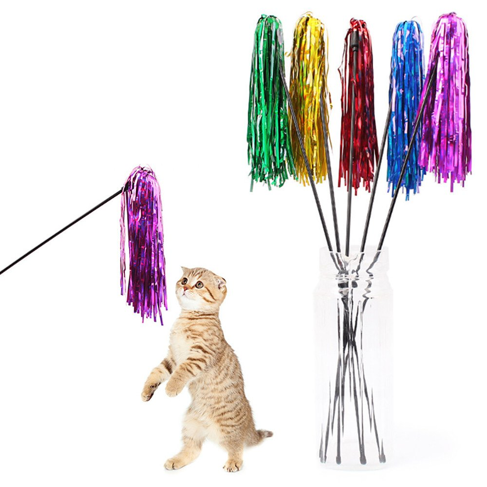 Cat Wand Multi RibbonTeaser And Exerciser for Cat and Kitten Cat Teaser Interactive Toy Rod With Coloured Ribbon Fun Catcher Teaser Good Exercising Your Kitten to Make Pet Happy Toy (1pc, Random)