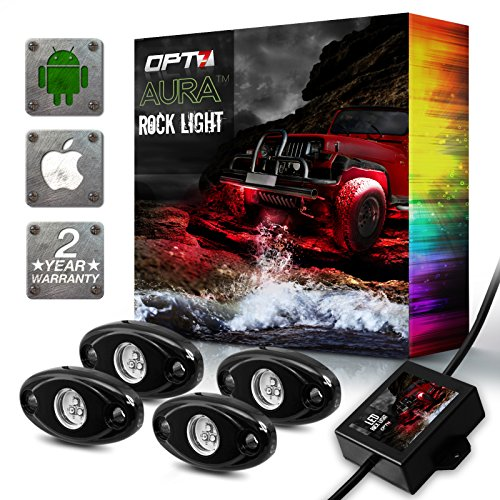 OPT7 AURA Rock Lights 4pc Multicolor LED Pods for Trucks, Jeeps, SUV, ATV - Offroad, Crawling, Climbing - RGB Neon Underglow Lighting - Waterproof, SoundSync, Bluetooth App Controls - 2 Year Warranty