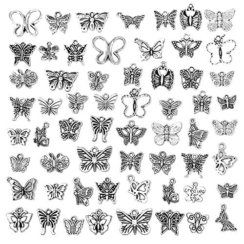 (Butterfly Charms Beads Necklace Pendants DIY for Jewelry Making and Crafting, JIALEEY 60 PCS Tibetan Silver Plated Butterfly Charm)