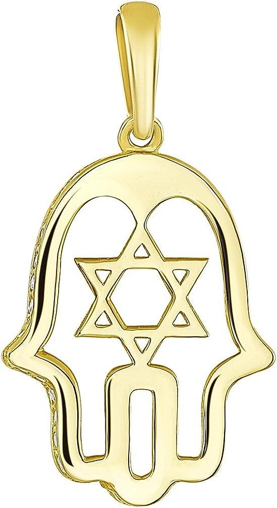 Hamsa Hand /& Star of David Jewish Kabbalah CZ Crystal Pendant in 14k Yellow Gold