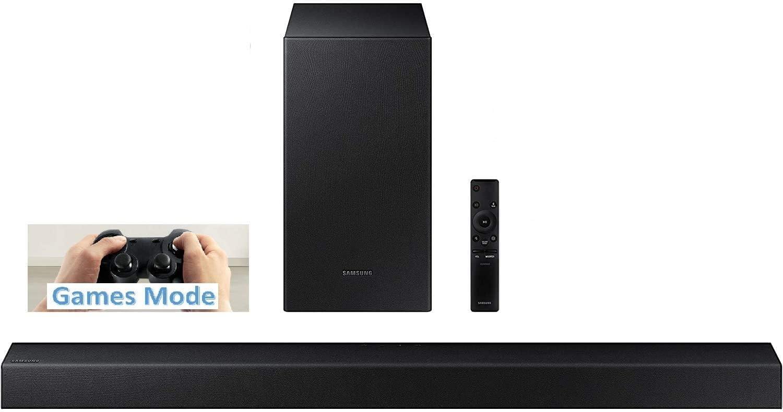 Barra de sonido inalámbrica Samsung 2.1 canales 200 W-RMS , Dolby Digital, modo inteligente, subwoofer inalámbrico activo, modo juegos inc. soportes de pared, negro (modelo 2020)