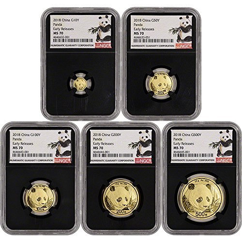 CN 2018 China Gold Panda 5-pc. Year Set Early Releases Ink Brush Black MS70 -