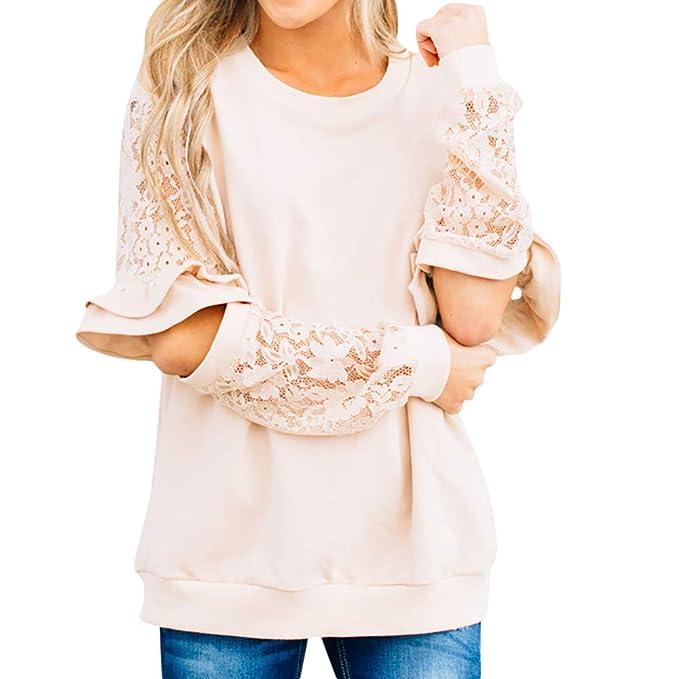 Ropa Camisetas Mujer, Encaje Rizado Blusa para Mujer Camisetas Mujer Camisas Mujer Tops Tallas Grandes Mujer: Amazon.es: Ropa y accesorios
