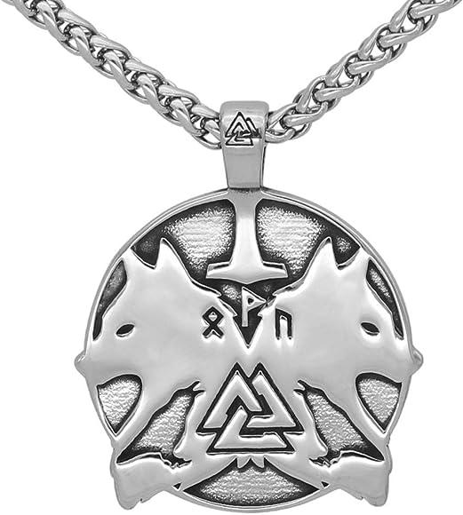 Nordic viking odin wolf Geri and Freki rune rune pendant necklace Norse jewelry