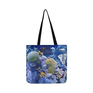 b2b155d83956 Amazon.com: Reef Coral Reef Sponges Aquarium Underwater Canvas Tote ...