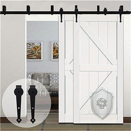 KIRIN 9ft Black Bypass Country For Sliding Barn Double Wood Door Hardware  Closet Kit