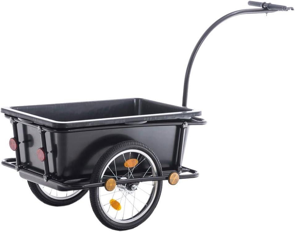 CLP Remolque para Bicicletas Lenny I Remolque de Bicicleta para Carga en Negro I Carretilla de Carga con Asas Negras I Negro