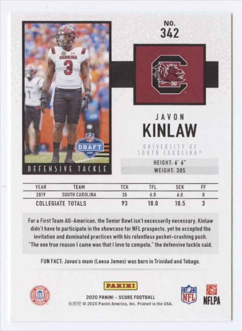 2020 Score Football #342 Javon Kinlaw RC Rookie Card South Carolina Gamecocks Official NCAA Trading Card From Panini America