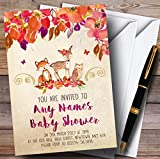 Bright Floral Woodland Forest Animals Fox Invitations Baby Shower Invitations