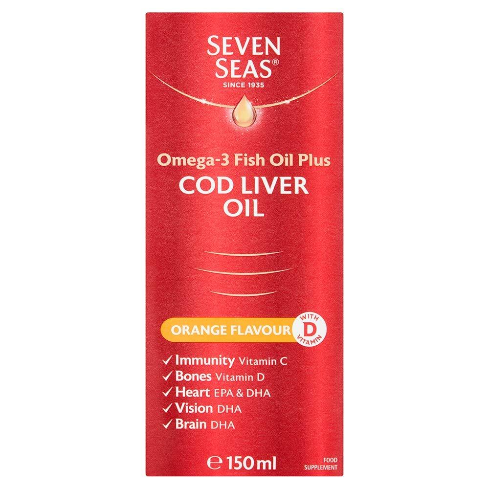 Seven Seas Orange Syrup And Cod Liver Oil With Vitamins D C + E 150ml