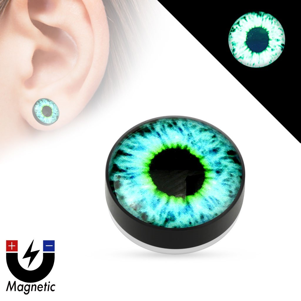 Earrings Rings Magnetic Eyeball Top Black Acrylic Glow in The Dark Fake Plug Pair Body Accentz HO 3139 PAFM-02-G02.jpg
