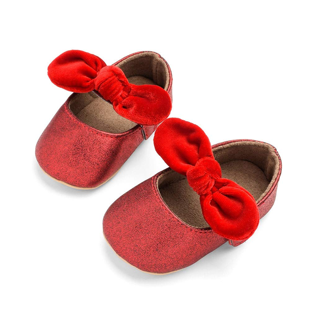 Foncircle Baby Girl Single Shoe Toddler Girl Bow Solid Anti-Slip Single Shoes