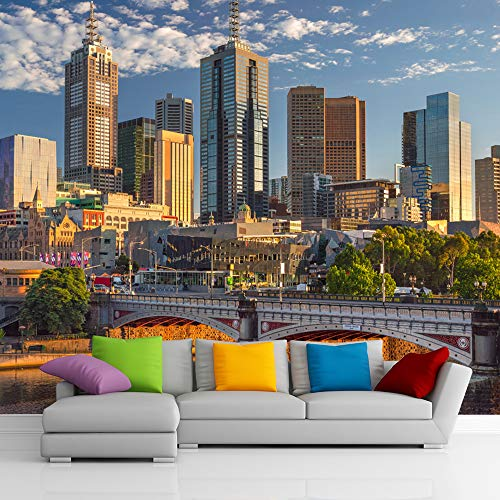 3D City Wallpaper. Cityscape Wall Mural. Skyline Removable Wallpaper. Self-Adhesive Wall Art. Eco Friendly KM31