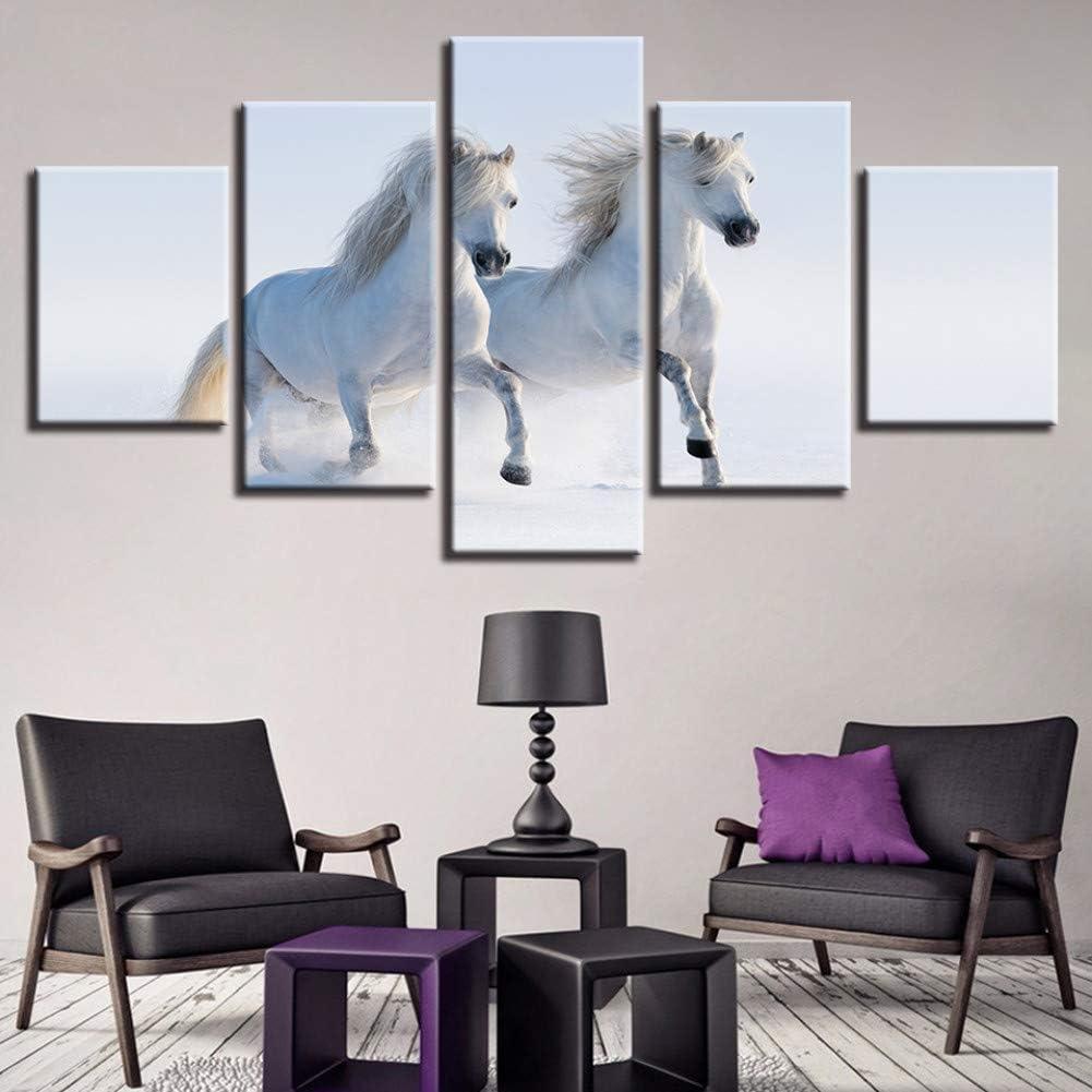 POLLKK 5 Paneles Cuadros Modulares Decoración del Hogar Lienzo Pintura Animal Caballo Blanco Pared para Sala De Estar Tipo Moderno