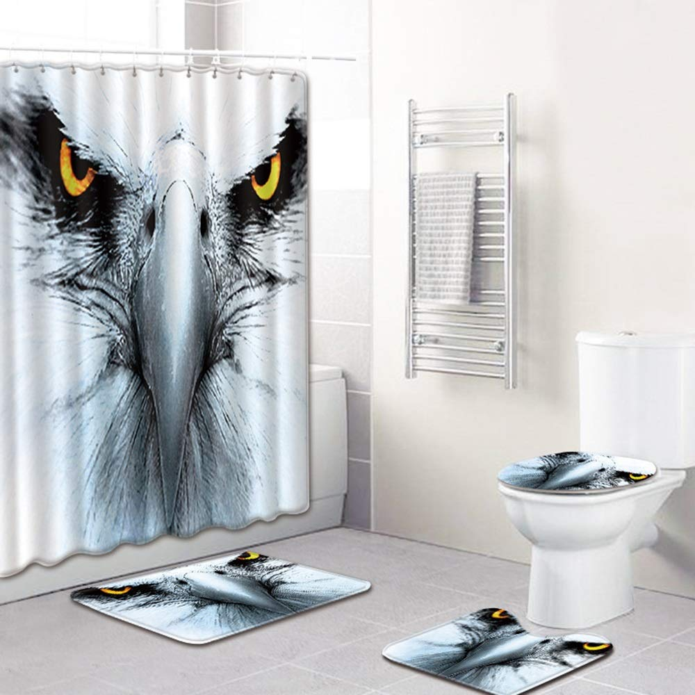 ETH Hawkeye Shower Curtain Floor Mat Bathroom Toilet Mat Four-Piece Carpet Water Absorption Does Not Fade Versatile Comfortable Bathroom Mat Can Be Machine Washed Durable by ETH