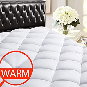 "SOPAT Queen Mattress Pad Topper - 400 Thread Count Cooling Pillow Top Plush Mattress Cover Reversible Quilted Fitted Mattress Protector with 8-21"" Deep Pocket for All Season"