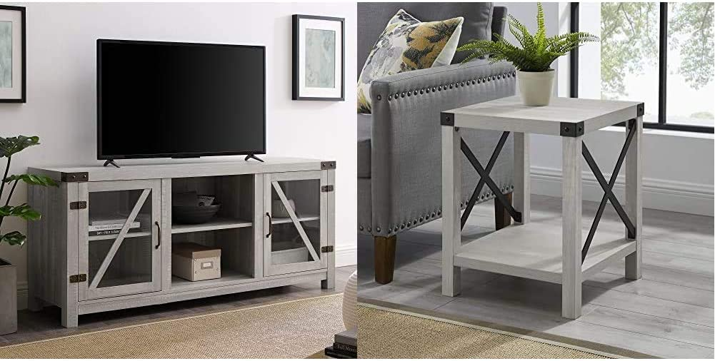 Walker Edison Furniture Company Farmhouse Barn Glass Wood TV Stand Cabinet, 58 Inch, Stone Grey & Rustic Modern Farmhouse Metal and Wood Square Side Accent Small End Table, 18 Inch, Stone Grey