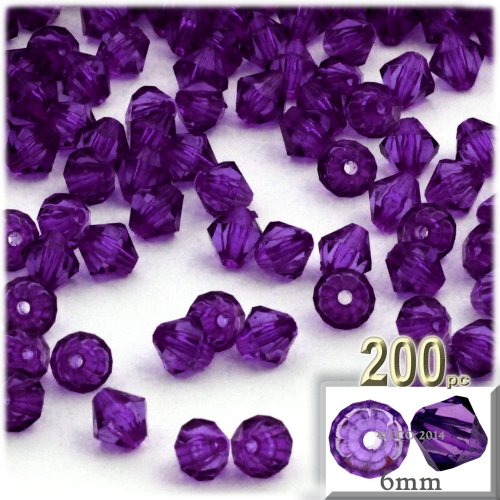 The Crafts Outlet, 200-pc Acrylic Bicone Beads, Faceted, 6mm, (Acrylic Faceted Bicone Beads)