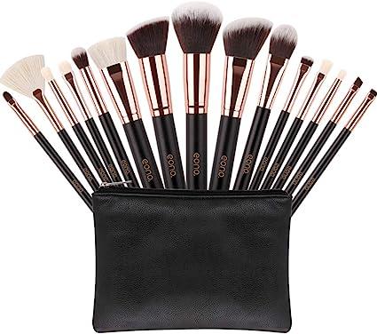 Eono by Amazon - Brochas de Maquillaje 15 Unids Pelos de Cabra Sintéticos Premium Base Pincel Mezcla Polvo Facial Rubor Corrector Cosméticos de Ojos Maquillaje Kits con Estuche: Amazon.es: Belleza