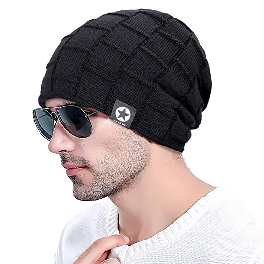FADA Skull Beanie Hats - Winter Knit Wool Warm Hat Thick Soft Stretch  Slouchy Beanie Skully 4e1154622f9
