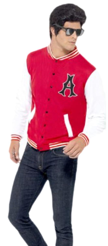 erdbeerloft - Chaqueta de estilo universitario para hombre - Años 50 - Disfraz de universitario - M-L - Rojo: Amazon.es: Juguetes y juegos