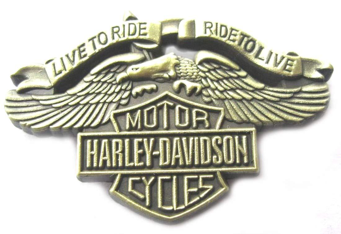 "Metal Enamel Pin Badge Brooch Antique Brass Finish Harley Davidson""Live To Ride"""