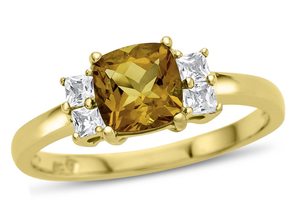 Finejewelers 6x6mm Cushion Citrine and White Topaz Ring 10 kt Yellow Gold Size 8