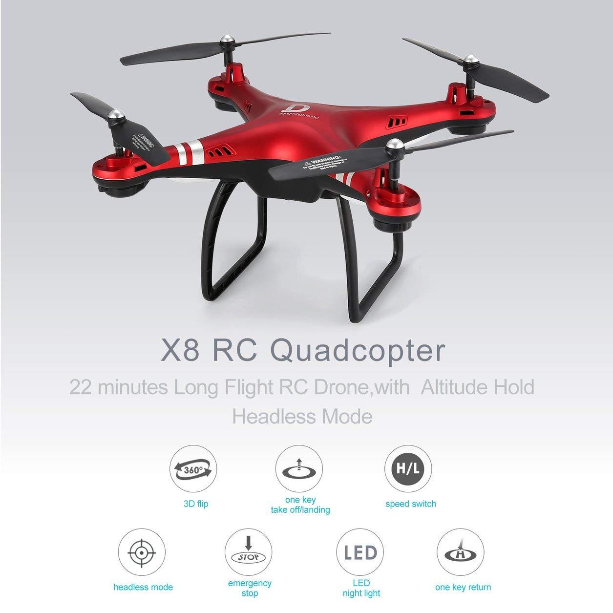 X8 RC Drone RC Quadcopter Drone 22 Minutos de Vuelo Largo Altitude Hold Headless Mode Red