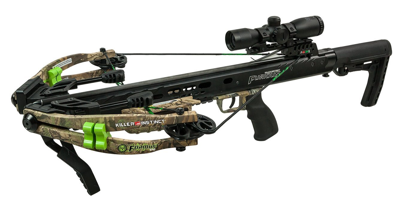 Killer Instinct Furious 370 Bone Collector Edition - High Performance Crossbow - Includes Quiver, Bolts, KI Lumix Illuminated Scope, and Rope Cocker
