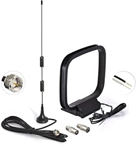 Bingfu Magnetic Base HD Radio FM Antenna and AM Loop Antenna for Denon Pioneer Onkyo Yamaha Marantz Indoor Digital HD Radio FM Bluetooth Stereo Receiver AV Audio Vedio Home Theater Receiver Amplifier