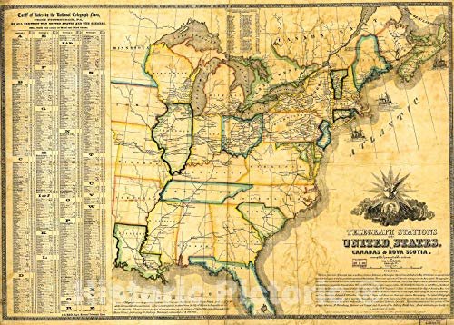 (Historic 1853 Map   Telegraph Stations in The United States, The Canadas & Nova Scotia. 44in x 32in)