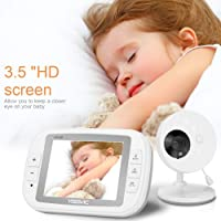Yissvic 3.5 Inch Baby Monitor Wireless Baby Video Camera with Night Vision Two-Way Talk Support Voice Activation Temperature Monitoring Built in Lullabies with AU Plug