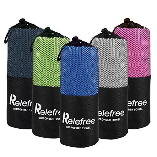 Relefree Premium Microfiber Towel for Travel, Sports & Outdoors FREE Hand/Face Towel & Mesh BAG, Antibacterial Quick-dry