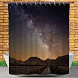 Homenon Cool Shower Curtain by, Night,Milky Way over Desert of Bardenas Spain Ethereal View Hills Arid Country Decorative,Plum Apricot Chocolate,Heavy-duty Fabric Shower Curtains