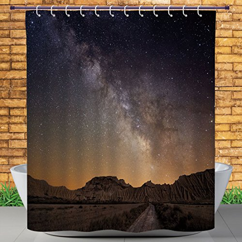 Homenon Cool Shower Curtain by, Night,Milky Way over Desert of Bardenas Spain Ethereal View Hills Arid Country Decorative,Plum Apricot Chocolate,Heavy-duty Fabric Shower Curtains by Homenon