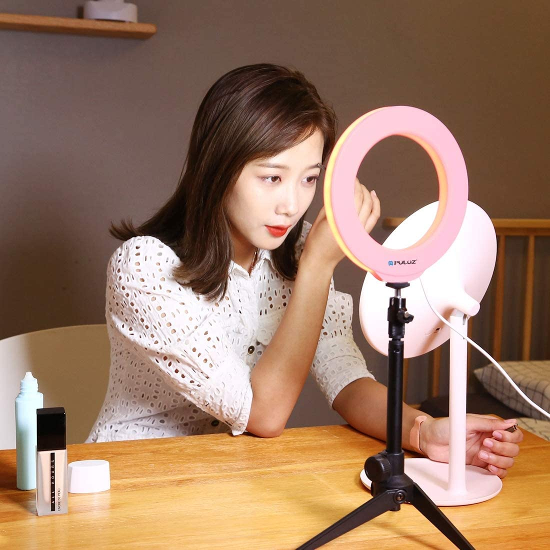 Black Color : Pink MEETBM ZIMO,6.2 inch 16cm USB 3 Modes Dimmable LED Ring Vlogging Photography Video Lights with Cold Shoe Tripod Ball Head