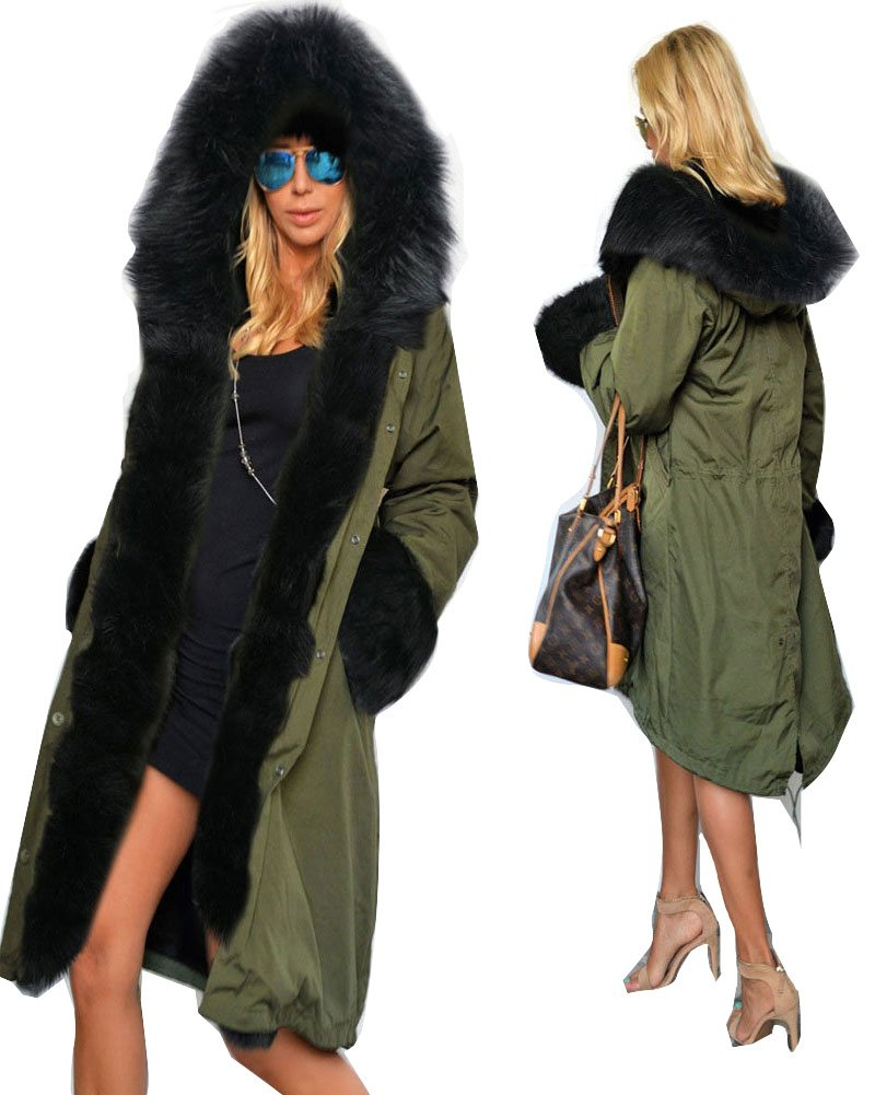 Roiii Women's Winter Thicken Faux Fur Hooded Plus Size Parka Jacket Coat Size S-3XL by Roiii