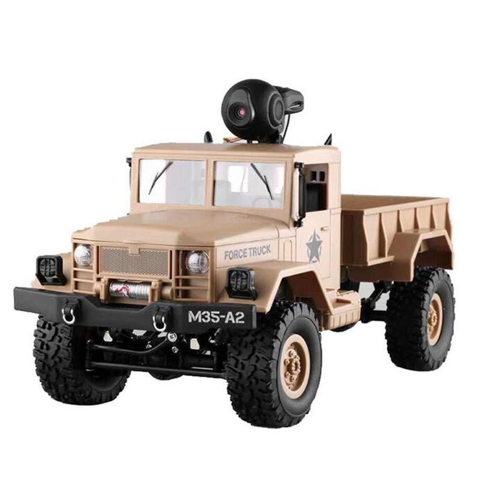 Liuliangmei Fernbedienung mit WiFi Camera RC Military Off-Road Truck Army Car APP Control 1 16 4WD Toy (Gelb)