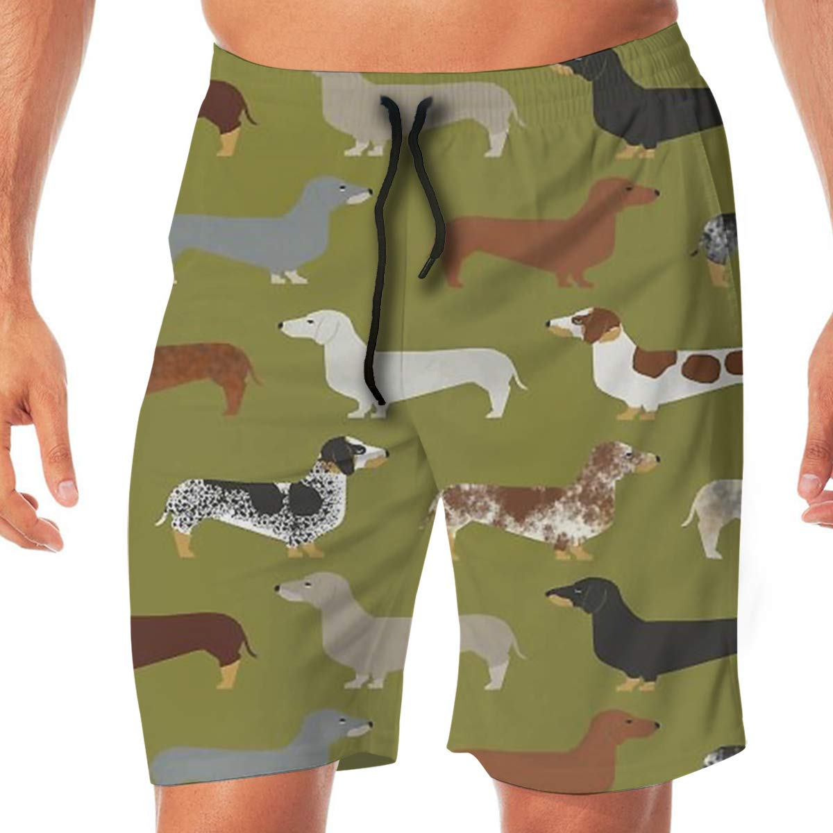 TR2YU7YT Doxie Dachshund Green Dogs Casual Mens Swim Trunks Quick Dry Printed Beach Shorts Summer Boardshorts Bathing Suits with Drawstring