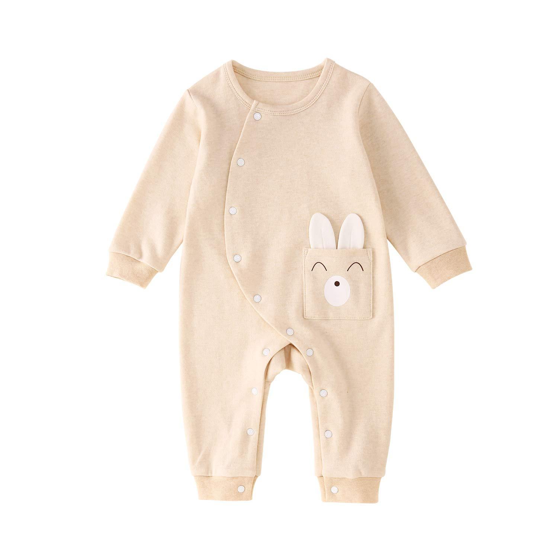 pureborn Newborn 2 Pack Unisex Baby Side Snap Cartoon Rabbit and Fish Jumpsuit Sleep and Play