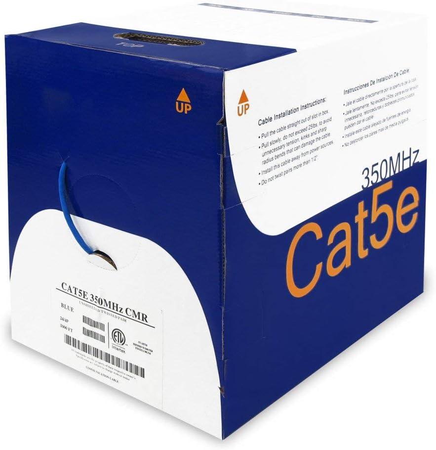 24AWG 350MHz CMR Bare Copper Bulk Ethernet NetStrand 1000ft Solid Cat5E Cable Blue ETL