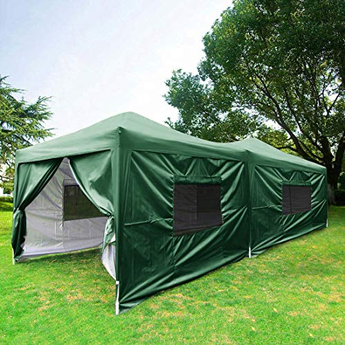 Quictent 2018 Upgraded Privacy 10x20 EZ Pop Up Canopy Tent Instant Folding Party Tent with Sides, Mesh Windows and Wheeled Bag 100% Waterproof-6 Colors (Green)