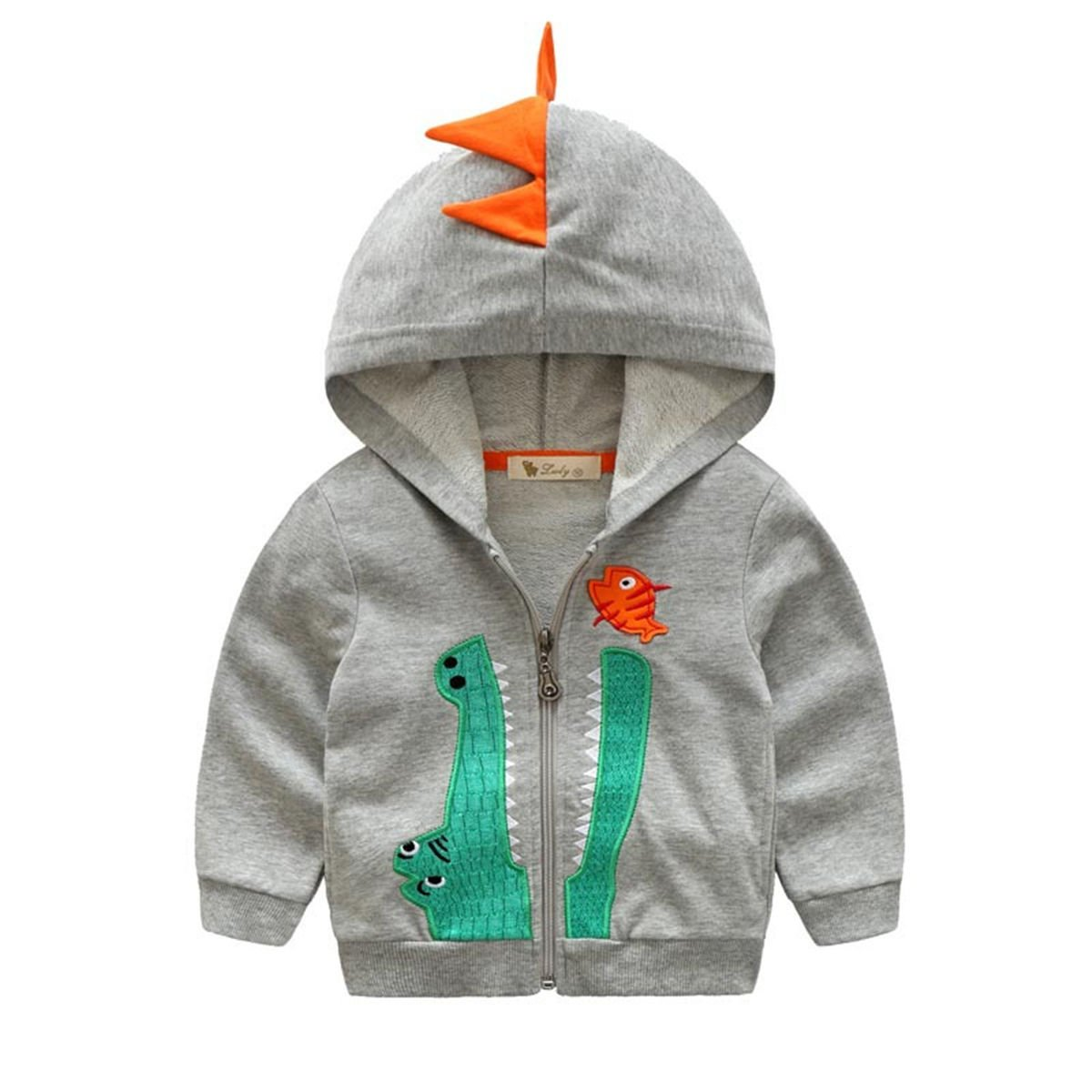 Dealone Baby Boys Long Sleeve Dinosaur Hoodies Kids Sweatshirt Toddler Zip-up Jacket Light Gray by Dealone