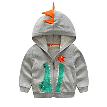 c96437f4f022 Amazon.com  Baby Boys Long Sleeve Dinosaur Hoodies Kids Sweatshirt ...