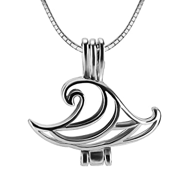 Amazon Com Ny Women 925 Sterling Silver Wave Locket Necklace
