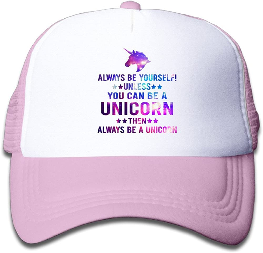 Boys Girl Summer Always BE Yourself OR A Unicorn Flat Billed Trucker Cap with Mesh Back Adjustable Caps