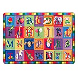 Flagship Carpets FE111-32A ABC Blocks, Showcases Every Letter of the Alphabet, Children's Classroom Educational Seating Carpet, 5'10'' x 8'4'', 70'' Length, 100'' Width, Multi-Color