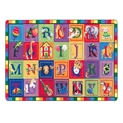 Flagship Carpets FE111-32A ABC Blocks, Showcases Every Letter of the Alphabet, Children's Classroom Educational Seating Carpet, 5'10